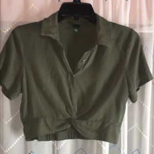 Olive green crop top with a twist